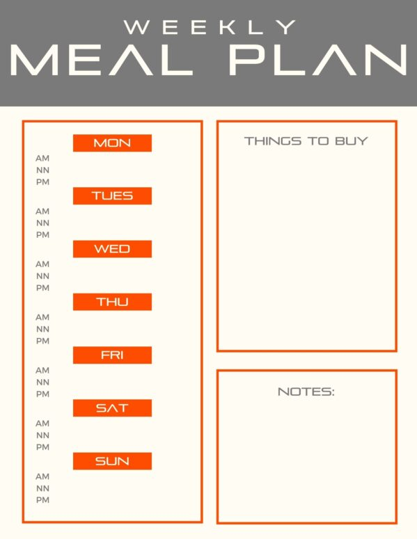 NBS Weekly Meal Planner Menu Guide with Breakfast, Lunch, and Dinner spots and a place for notes and things to buy.
